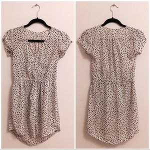 Cap sleeve v neck button polkadot dress